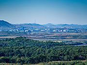 PAJU, GYEONGGI, SOUTH KOREA: The North Korean town of Kijong-dong as seen from Dora Observatory on the edge of the DMZ. Tourism to the Korean DeMilitarized Zone (DMZ) has increased as the pace of talks between South Korea, North Korea and the United States has increased. Some tours are sold out days in advance.      PHOTO BY JACK KURTZ