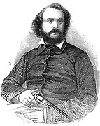 Samuel Colt (1814-1862), American inventor and industrialist, shown here with the Colt revolver, the weapon which, after the Mexican war of 1846-8, was adopted by the US army. From 'The Illustrated London News',  22 November 1856. Wood engraving.