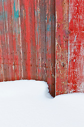 An old farm shed door and snow in Windsor, Massachusetts. Notchview Reservation. The Trustees of Reservations.