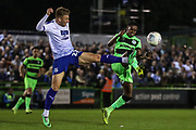 Tranmere Rovers Harvey Gilmour(22) and Forest Green Rovers Reece Brown(10) during the EFL Sky Bet League 2 second leg Play Off match between Forest Green Rovers and Tranmere Rovers at the New Lawn, Forest Green, United Kingdom on 13 May 2019.