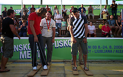 Luka Spik, Athlete Primoz Kozmus, Rok Rozman and Miha Pirih at welcome ceremony in Olympic City BTC, on August 21, 2008, in Alea Mladih, BTC, Ljubljana, Slovenia. (Photo by Vid Ponikvar / Sportal Images)./ Sportida)