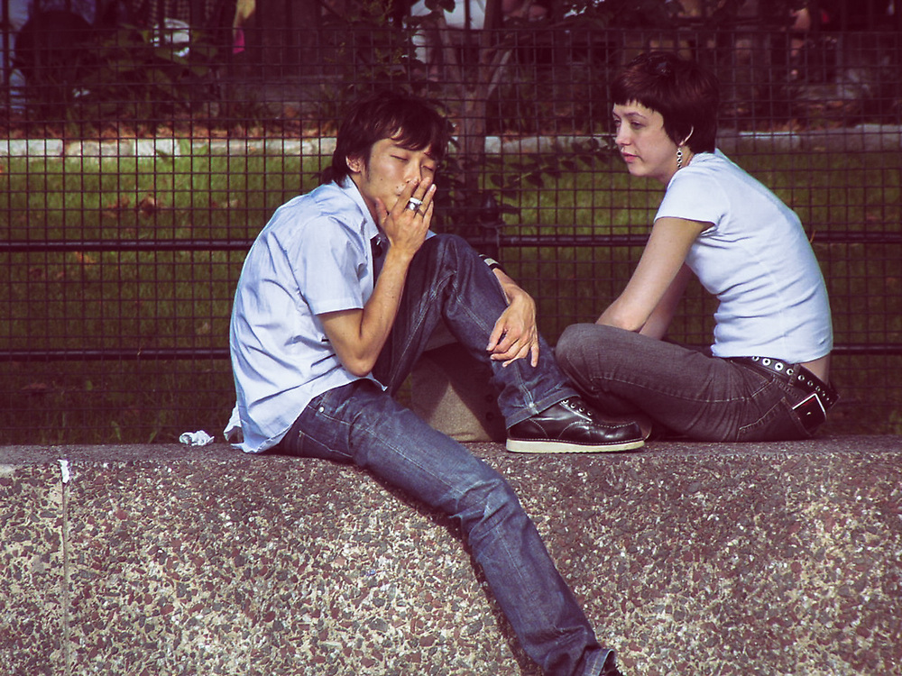 Cool teenage couple in Washington Square park. NYC 2006