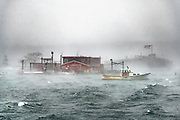 A very high tide, sea smoke, heavy seas, and strong winds are all apparent in this image of Cook's taken from the Cribstone Bridge on Garrison Cove, Bailey Island.