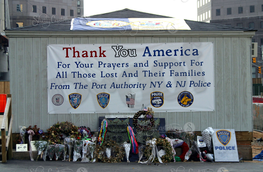 Aug 16, 2002; New York, NY, USA; Memorial left at Ground Zero by the New York Port Authority and New Jersey Police thanking people for their prayers and support.   Mandatory Credit: Photo by Shelly Castellano/ZUMA Press. (©) Copyright 2002 by Shelly Castellano