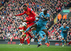 07.04.2013, Anfield, Liverpool, ENG, Premier League, FC Liverpool vs West Ham United, 32. Runde, im Bild Liverpool's Daniel Sturridge in action against West Ham United's Guy Demel during during the English Premier League 32th round match between Liverpool FC and West Ham United FC at Anfield, Liverpool, Great Britain on 2013/04/07. EXPA Pictures © 2013, PhotoCredit: EXPA/ Propagandaphoto/ David Rawcliffe..***** ATTENTION - OUT OF ENG, GBR, UK *****