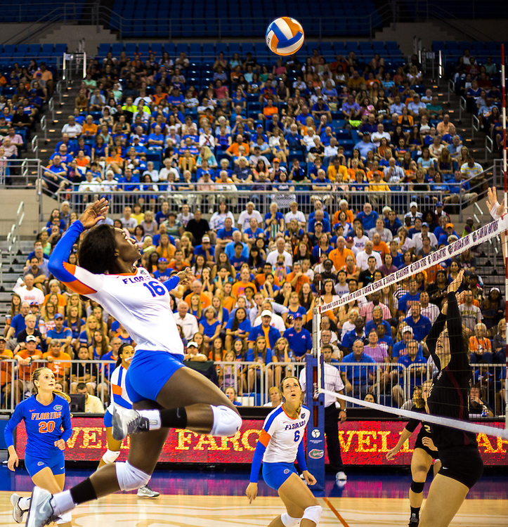 Simone Antwi gets ready to spike the Florida State defense during the second set of Sunday's game. (photo by Samuel Navarro)