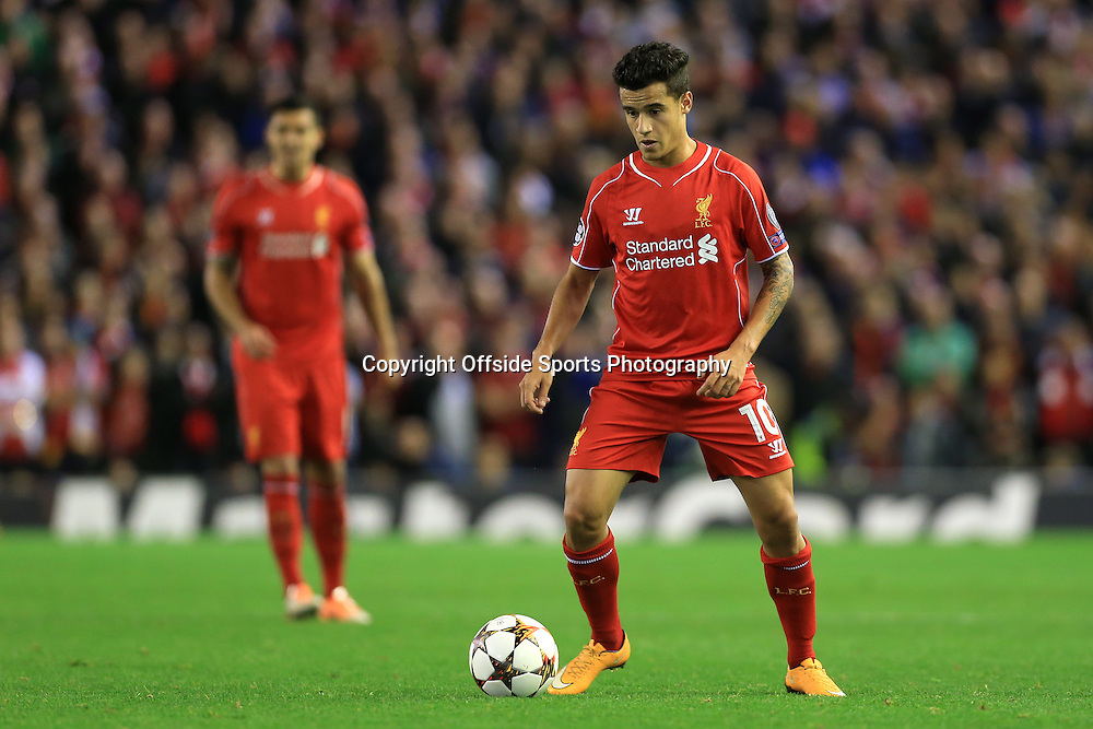 22nd October 2014 - UEFA Champions League - Group B - Liverpool v Real Madrid - Philippe Coutinho of Liverpool - Photo: Simon Stacpoole / Offside.