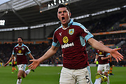 Burnley FC defender Michael Keane (5)  celebrates scoring goal to go 1-1 during the Premier League match between Hull City and Burnley at the KCOM Stadium, Kingston upon Hull, England on 25 February 2017. Photo by Ian Lyall.