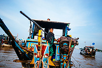 The floating market in Chau Doc in the Mekong Delta, in southern Vietnam.