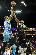 Gareth Murray of Glasgow Rocks and Jaysean Paige of Newcastle Eagles during the Betway British Basketball All-Stars Championship at the O2 Arena, London, United Kingdom on 24 September 2017. Photo by Martin Cole.