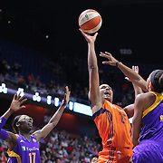 UNCASVILLE, CONNECTICUT- JULY 15:  Alyssa Thomas #25 of the Connecticut Sun shoots over Candace Parker #3 of the Los Angeles Sparks during the Los Angeles Sparks Vs Connecticut Sun, WNBA regular season game at Mohegan Sun Arena on July 15, 2016 in Uncasville, Connecticut. (Photo by Tim Clayton/Corbis via Getty Images)