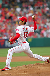 May 20, 2018 - Anaheim, CA, U.S. - ANAHEIM, CA - MAY 20: Shohei Ohtani (17) of the Angels delivers a pitch to the plate during the major league baseball game between the Tampa Bay Rays and the Los Angeles Angels on May 20, 2018 at Angel Stadium of Anaheim in Anaheim, California. (Photo by Cliff Welch/Icon Sportswire) (Credit Image: © Cliff Welch/Icon SMI via ZUMA Press)