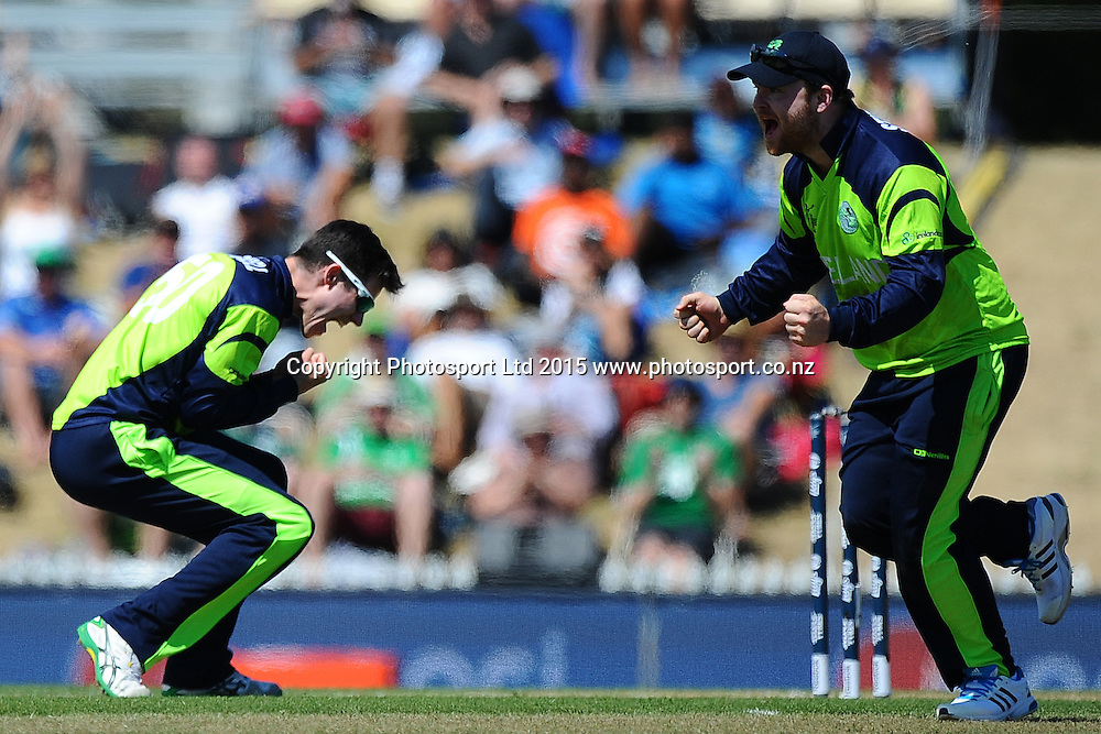 Ireland player George Dockrel celebrates the wicket of West Indies player Denesh Ramdin during the 2015 ICC Cricket World Cup match between West Indies and Ireland. Saxton Oval, Nelson, New Zealand. Monday 16 February 2015. Copyright Photo: Chris Symes / www.photosport.co.nz