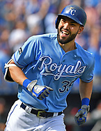 Kansas City Royals first basemen Eric Hosmer (35) reacts after hitting a solo home run against the Arizona Diamondbacks during the first inning at Kauffman Stadium.