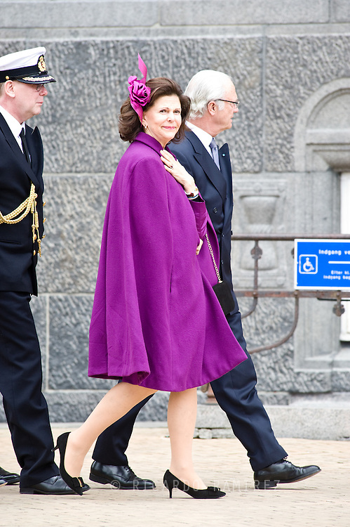 16.04.2015. Copenhagen, Denmark.<br /> Queen Silvia and King Carl XVI Gustaf of Sweden arrive to the Town Hall during festivities for the 75th birthday of Queen Margrethe II of Denmark.<br /> Photo:© Ricardo Ramirez