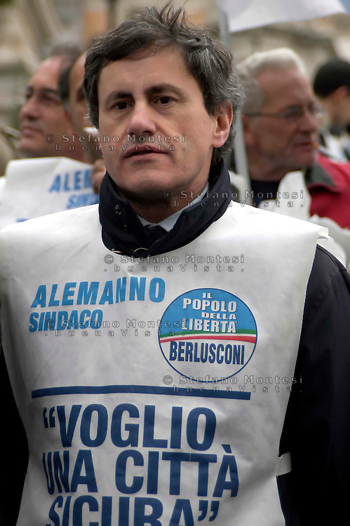 """Rome   April 4  2007.Demonstration for the security Of the People Of the Liberties' in Capitol.The mayor of Rome Gianni Alemanno   .The bib is written """"I want a sure city"""""""