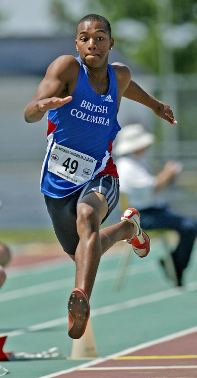 (Sherbrooke, Quebec -- 9 Aug 2009)  Nicholas Fyffe of British Columbia won the boys under-15 triple jump final with a recording leap of _____ at the 2009 Royal Canadian Legion National Youth track and field championships. Photograph copyright Sean Burges / Mundo Sport Images  2009.