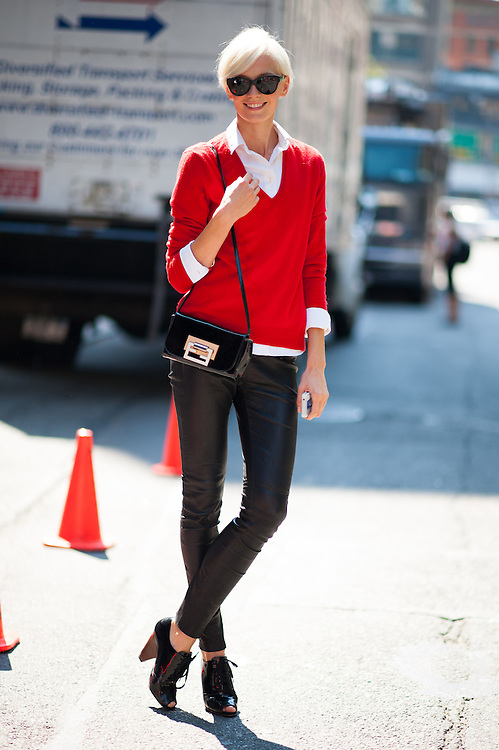 Model Off Duty in a Red Sweater