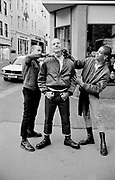 Three Skinheads messing around holding cut throat razors, Guernsey 1986