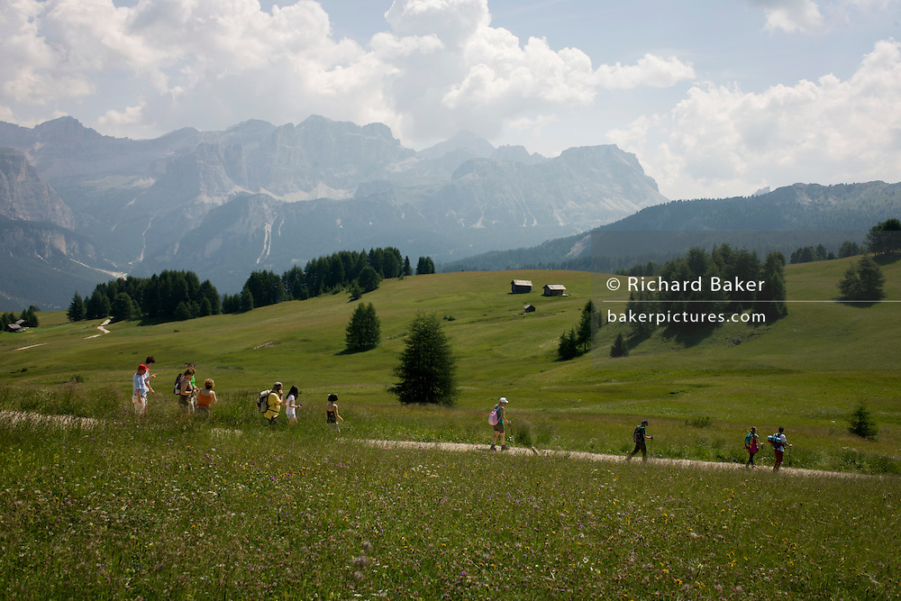 Hikers follow a trail route over grassland in the Pralongià above San Cassiano-St. Kassian in the Dolomites, south Tyrol, northern Italy. In winter, the Pralongià meadows are the heart of Alta Badia's skiing area.