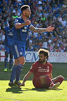 Football - 2018 / 2019 Premier League - Cardiff City v Liverpool<br /> <br /> Sean Morrison of Cardiff City conceding a  penalty against Mohamed Salah of Liverpool at Cardiff City Stadium.<br /> <br /> COLORSPORT/WINSTON BYNORTH