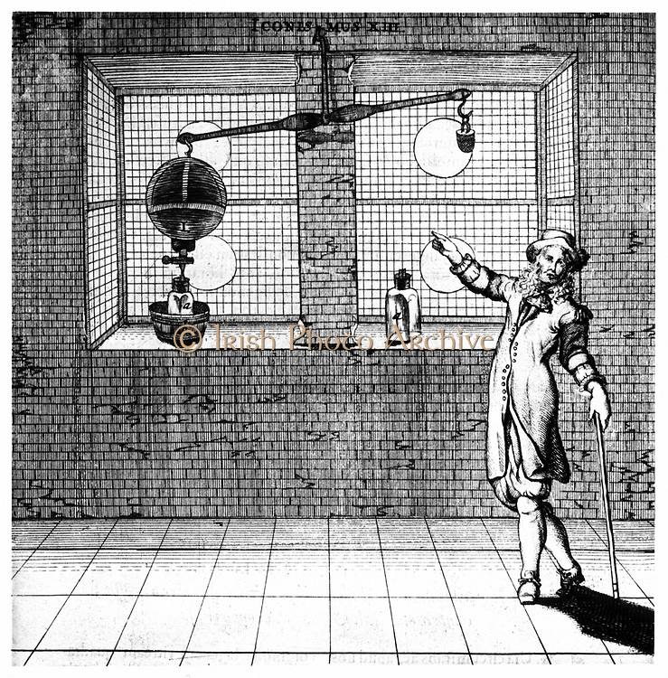Experiment designed to show that air has weight. From 'Experimenta Nova ut vocantur Magdeburgica De Vacuo Spatio' ('New Magdeburg Experiments About the Vacuum', Otto von Guericke, (Amsterdam, 1672). Engraving.