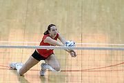 24 November 2006: Kari Staehlin goes to her knee for a dig during a Quarterfinal match between the Illinois State University Redbirds and the Creighton University Bluejays. The Tournament was held at Redbird Arena on the campus of Illinois State University in Normal Illinois.<br />