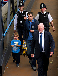 © Licensed to London News Pictures. 22/06/2016. London, UK. BRENDAN COX, husband of murdered MP Jo Cox, arrives in Westminster with his son CUILLIN  for a memorial service to mark the life of murdered Labour MP for Batley and Spen, who would have turned 42 today.   Photo credit: Ben Cawthra/LNP