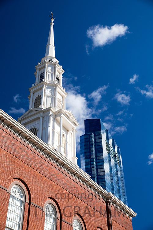 Park Street church tower, Congregational, Trinitarian, |Evangelical in Boston, Massachusetts, USA