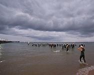 Swim Start. 2012 Ironman Melbourne. Asia-Pacific Championship. 25/03/2012. Photo By Lucas Wroe.