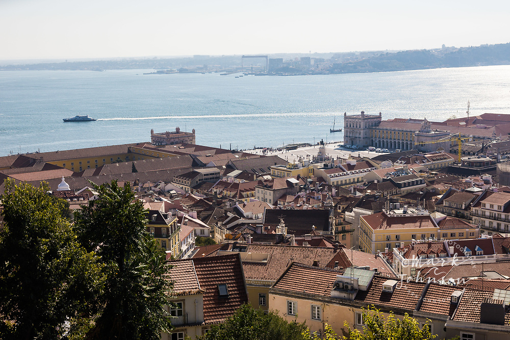 View of Lisbon and the Tagus River from the Castelo de Sao Jorge, Lisbon, Portugal