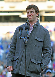 Feb 7, 2012; East Rutherford, NJ, USA; New York Giants quarterback Eli Manning speaks to the crowd during the New York Giants Super Bowl XLVI Rally at MetLife Stadium.