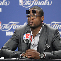 19 June 2012: Miami Heat shooting guard Dwyane Wade listens to journalists during a press conference following the Miami Heat 104-98 victory over the Oklahoma City Thunder, in Game 4 of the 2012 NBA Finals, at the AmericanAirlinesArena, Miami, Florida, USA.