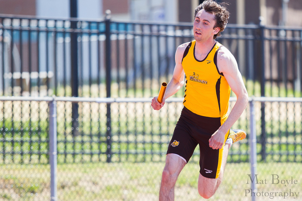 Rowan University's Taylor Purdue competes in the men's 4 x 400 meter relay at the NJAC Track and Field Championships at Richard Wacker Stadium on the campus of  Rowan University  in Glassboro, NJ on Sunday May 5, 2013. (photo / Mat Boyle)