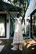 A wedding dress hangs outside a luxury villa in Ko Samui, Thailand, Southeast Asia