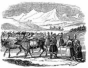 Lapps setting out on a migration with reindeer carrying packs. Nomadic herdsmen of Arcitic regions whose reindeer provided food, clothing, tools and transport.  Wood engraving 1840.