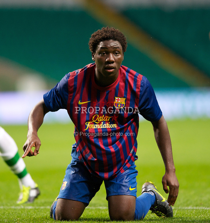 GLASGOW, SCOTLAND - Wednesday, August 31, 2011: FC Barcelona's Jean Marie Dongou in action against Glasgow Celtic during the NextGen Series Group 1 match at Celtic Park. (Pic by Mark Runnacles/Propaganda)