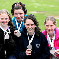 Orla Flanagan,Meabh Hogan ,Niamh Markham and laura Egan with their Community Games Bronze Medals for the U13 Mixed Athletics.<br /><br />Photograph by Eamon Ward