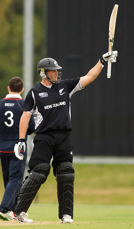 New Zealand's Corey Anderson raises his bat to the applause after reaching his 50. New Zealand v England, U19 Cricket World Cup SL 7th-8th Place, Village Green, QEII, Christchurch, Tuesday 26 January 2010. Photo : Joseph Johnson/PHOTOSPORT