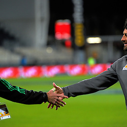 Referee Craig Joubert shakes hands with Jaguares coach Raul Perez before the Super Rugby match between the Crusaders and Jaguares at AMI Stadium, Christchurch, New Zealand on Friday, 15 April 2016. Photo: Dave Lintott / lintottphoto.co.nz