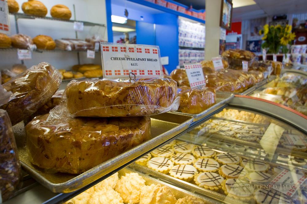 Interior bakery counter at Olsen's Danish Village Bakery, Solvang, California