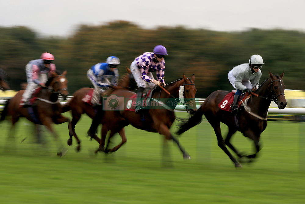 Star Of The East (right) ridden by Kieran Shoemark wins the 32Red Handicap Stakes at Haydock Park Racecourse.