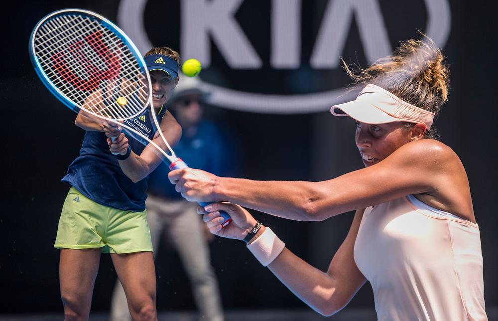 Madison Keys of the United States on day ten of the 2018 Australian Open in Melbourne Australia on Wednesday January 24, 2018.<br /> (Ben Solomon/Tennis Australia)