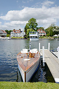Henley on Thames, England, United Kingdom, 2nd July 2019, Henley Royal Regatta, Thames Slipper Launch, L'Amazon, moored by the floating grandstand, on Henley Reach, [© Peter SPURRIER/Intersport Image]<br /> <br /> 12:34:17 1919 - 2019, Royal Henley Peace Regatta Centenary,