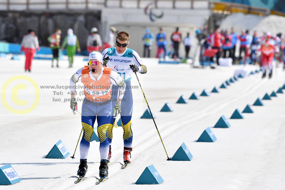 MODIN Zebastian SWE B1 Guide: BRYNTESSON Robin competing in the ParaSkiDeFond, Para Nordic Skiing, Sprint at  the PyeongChang2018 Winter Paralympic Games, South Korea.