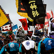 "MINAMISOMA, JAPAN - JULY 24 : A samurai horsemen look for the sacred flag as they compete in the Shinki-soudatsusen (sacred flag competition) during the Soma Nomaoi festival at Hibarigahara field on Sunday, July 24, 2016 in Minamisoma, Japan. ""Soma-Nomaoi"" is a traditional festival that recreates a samurai battle scene from more than 1,000 years ago.  (Photo: Richard Atrero de Guzman/NURPhoto)"