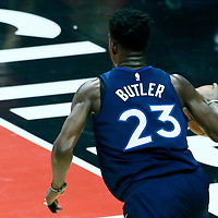 06 December 2017: Minnesota Timberwolves guard Jimmy Butler (23) drives during the Minnesota Timberwolves 113-107 victory over the LA Clippers, at the Staples Center, Los Angeles, California, USA.