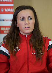 CARDIFF, WALES - Thursday, February 19, 2015: New Wales women's team vice captain Natasha Harding during a press conference ahead of the 2015 Istria Cup at the FAW HQ in Cardiff. (Pic by Carl Robertson/Propaganda)