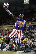 "05 May 2006: Kevin ""Special K"" Daley goes for a extra two that was waved off during the Harlem Globetrotters vs the New York Nationals at the Sulivan Arena in Anchorage Alaska during their 80th Anniversary World Tour."