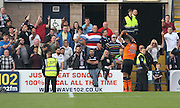 Dundee United's Mario Bilate celebrates in front of Dundee fans - Dundee v Dundee United, SPFL Premiership at Dens Park<br /> <br />  - &copy; David Young - www.davidyoungphoto.co.uk - email: davidyoungphoto@gmail.com